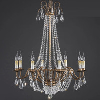 6/8 lights American style retro rustic iron chandelier candelabro de cristal dining living pendant Crystal chandelier bar lamp