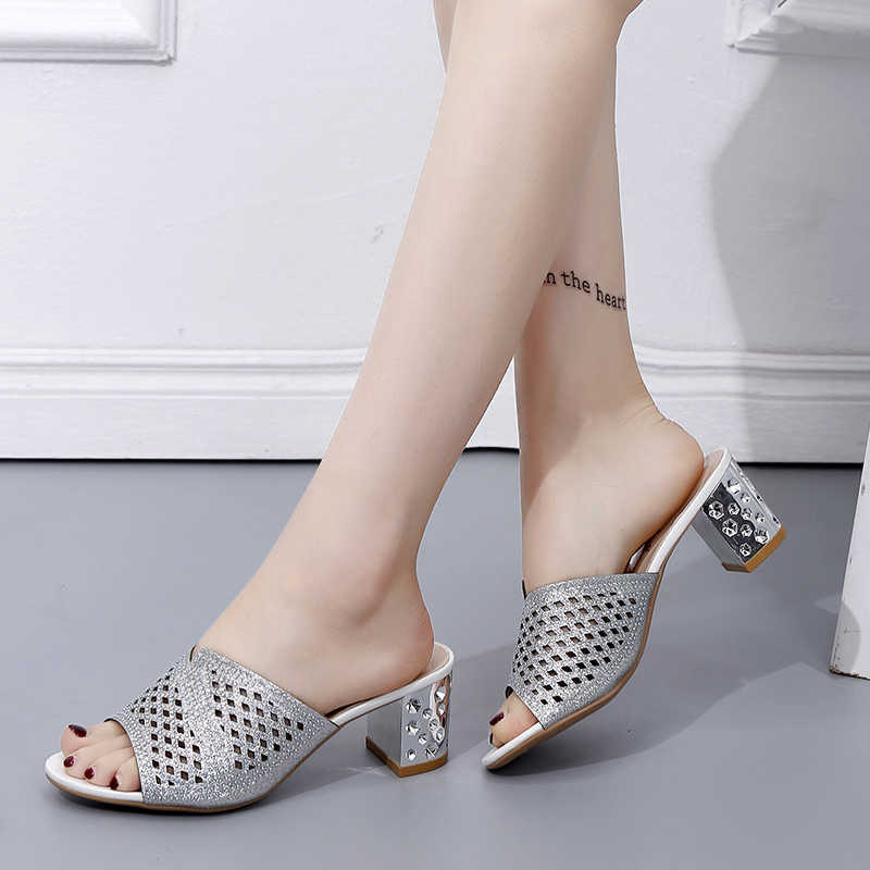 13605854cec69 Detail Feedback Questions about Lucyever Summer Women Slipper Peep Toe  Thick Heels Outside Flip Flops Shoes Woman High Heel Slides Ladies Rhinestone  Beach ...
