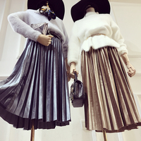 Leather Skirt Promotion Polyester Spandex Saia 2016 New Pleated Skirt Europe And The Trend Of Deer