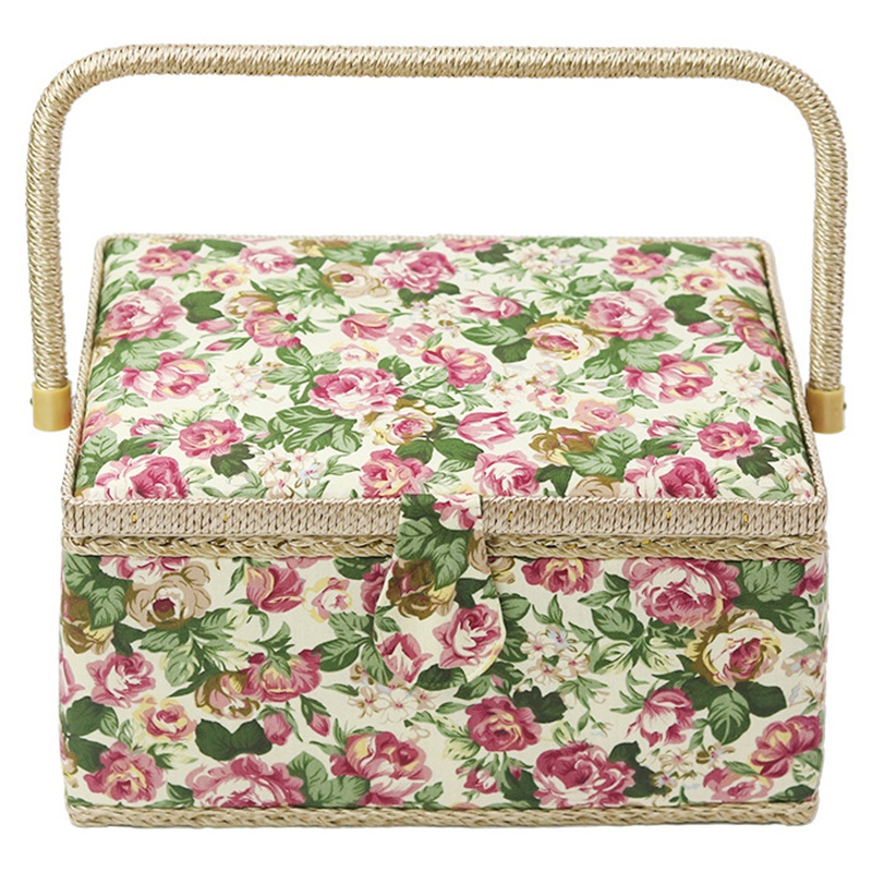Sewing Basket With Rose Floral Print Design- Sewing Kit Storage Box With Removable Tray, Built-In Pin Cushion And Interior Poc(China)