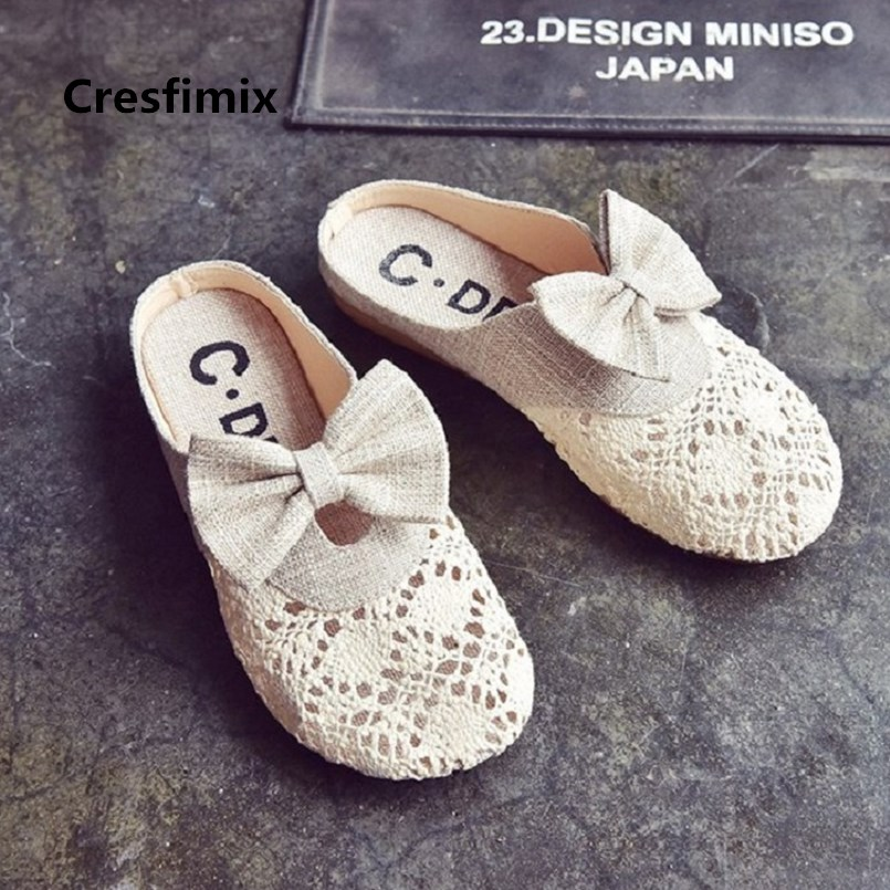 Cresfimix Femmes Appartements Women Fashion Mesh Breathable Bow Tie Flat Shoes Lady Casual Street Shoes Cool Beige Shoes C2859