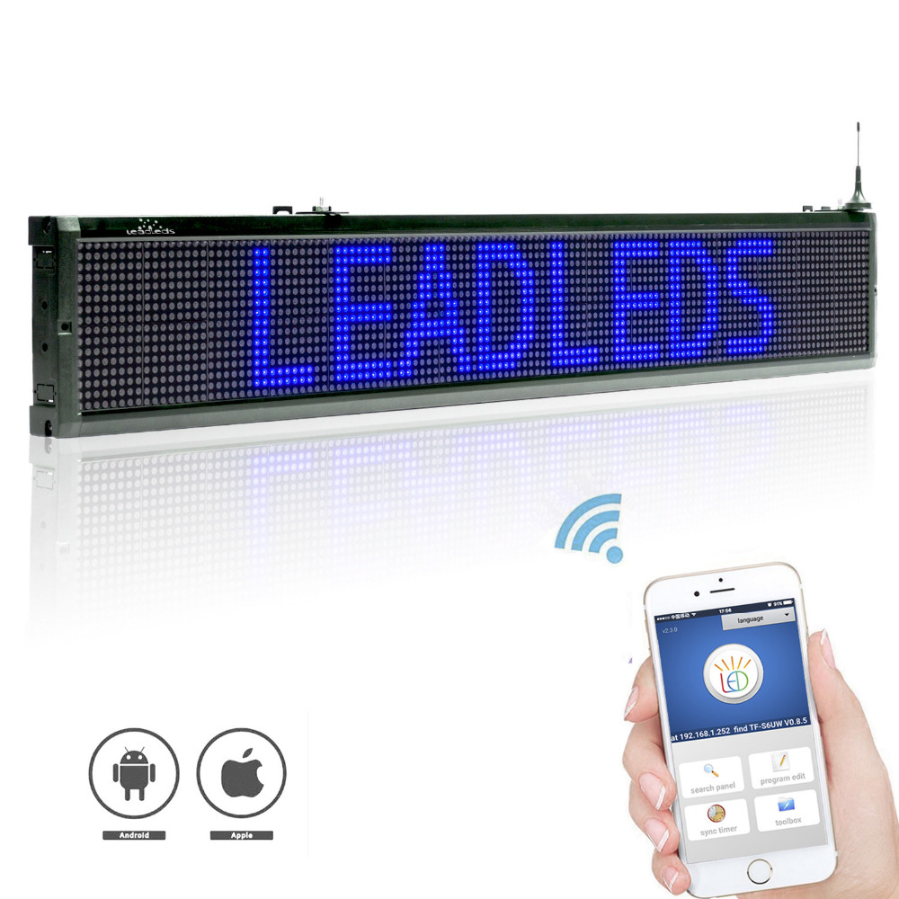 40X9 inch Blue ios Wifi LED sign wireless and usb programmable rolling information 16x 128 dots indoor led display