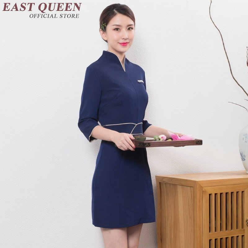 Toptan güzellik salonları için güzellik iş elbisesi üniforma SPA masaj zarif yarım yaka tulum AA2944 YQ