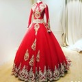 Muslim High Neck Red Bridal Ball Gown With Golden Appliques Beaded 2017 Robe De Mariee Long Sleeves Custom Made Wedding Dress