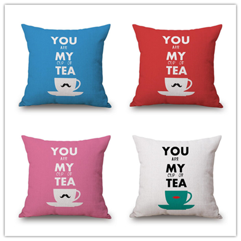 Western Style Home Decorative Cotton Linen Cartoon Cup Print Sofa Throw Pillowcase Square Almofadas