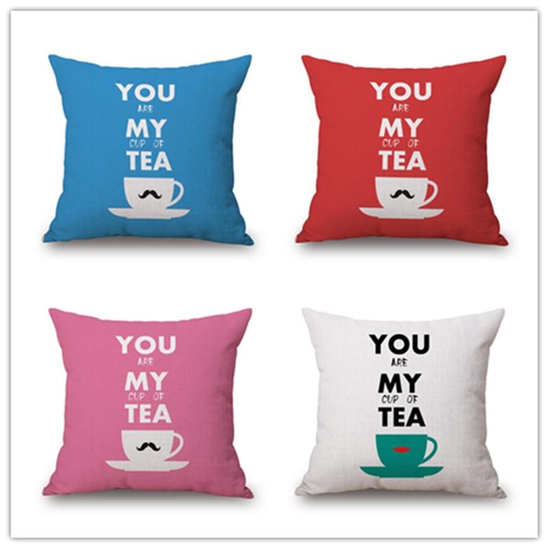 Western Style Home Decorative Cotton Linen Cartoon Cup Print Sofa Throw Pillowcase Square Almofadas