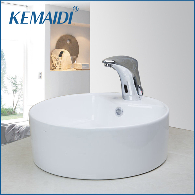 Kemaidi Countertop Bowl Sinks Vessel Basins With Pop Up Drain White Ceramic Round Bathroom