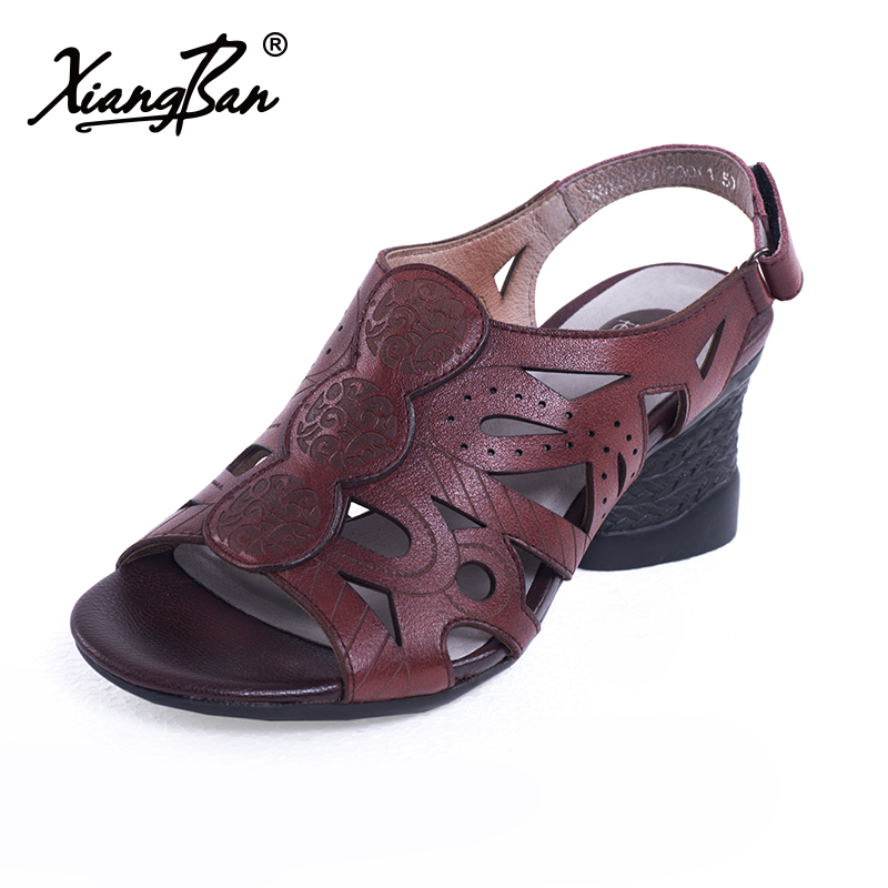 Fashion High Heel Ladies Sandals Peep Toe Summer Shoes Genuine Leather Hollow Out Thick Heel Design Female Shoes Xiangban asumer black apricot fashion summer ladies shoes cross tied peep toe high heel sandals shoes elegant wedding shoes thick heel