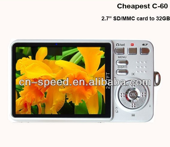 Cheap+gift 2.7inch TFT LCD anti shake 14 mp 5 mp cmos digital camera veview DC-C60,Free shipping