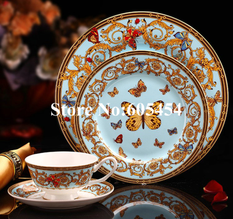 2018 New arrivals gold butterfly ceramic dinnerware set with coffee cup kitchenware set brithday