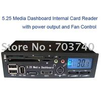 5 25 LCD DisplayMedia Dashboard Internal Card Reader With USB HUB ESATA SATA Power Port Fan