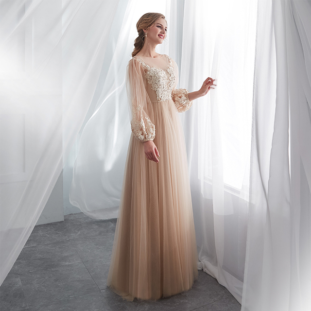 Champagne Prom Dresses Long Puff Sleeves Venice Lace Full Length Evening Dresses Party Gown Formal Dresses vestidos de gala 3