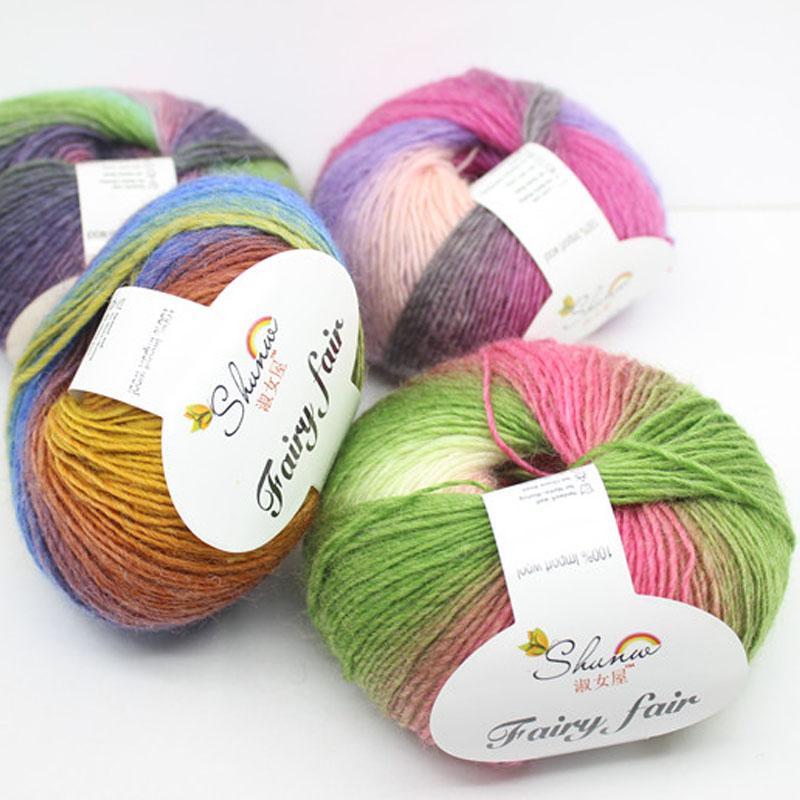 250g/5ball High Quality Organic Baby Merino Wool Roving Yarn For Hand Knitting Crochet Natural Yarns Colorful Dyed