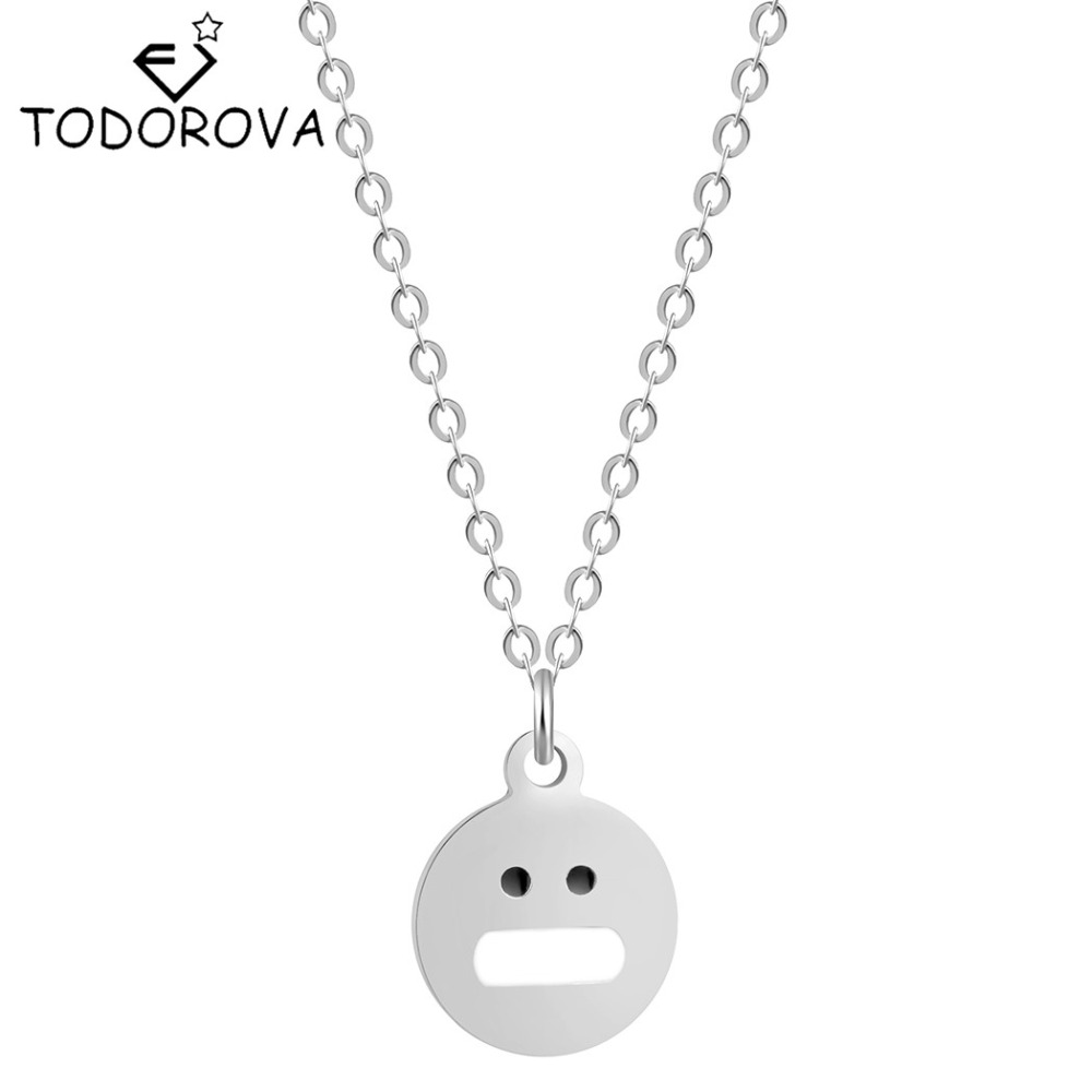 Todorova 10pcs New Hot Lovely Wild Funny Creative Expression Pendant Necklace Jewelry Accessories Emoji for Women Men Gift Cheap