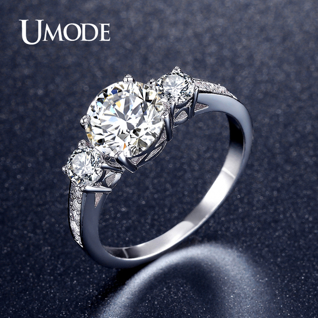 UMODE Romantic Three Stone Engagement Rings White Gold Color CZ Vintage Wedding Female Rings Jewelry for Women Bijoux UR0325