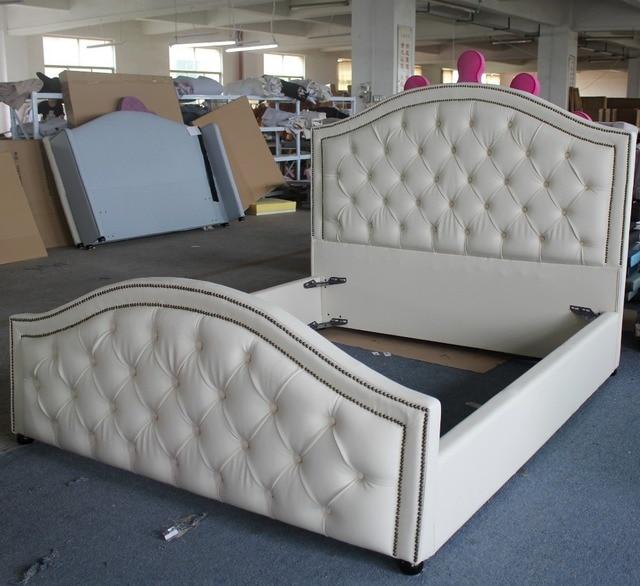 Suave genuino/cuero sintético tela cama de estilo muebles de ...