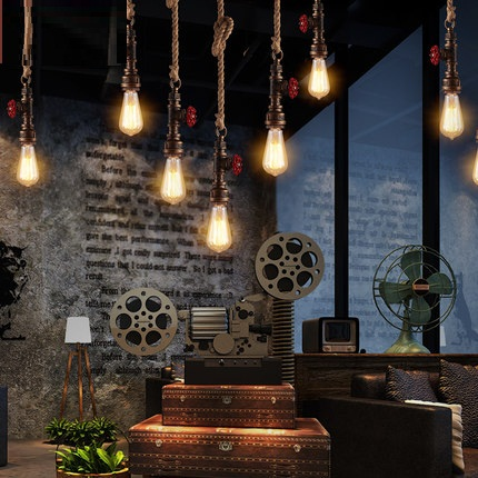 Loft Style Rope Water Pipe Lamp Edison Pendant Light Fixtures Vintage Industrial Lighting For Dining Room Retro Iron Droplight loft style metal water pipe lamp retro edison pendant light fixtures vintage industrial lighting dining room hanging lamp