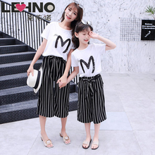 Girls Parent-child Suit 2 pcs 2019 New Children Korean Version of The Big Children Wide Leg Pants Mother Women Summer Dress