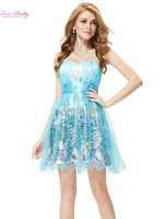 Prom Dress 2015 Black Blue Strapless Ruffled Short Cocktail Empire Dress For Club HE05052
