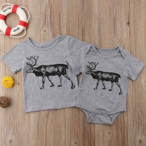Newborn Toddler Kids Baby Boys Little Big Brother Clothes Bodysuit T-shirt Tops Short Sleeve Cute Animals Cotton Boy 0-6T