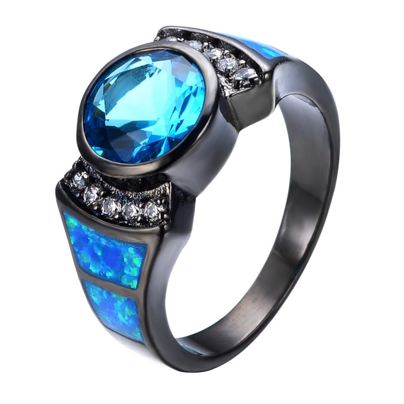 Women/Men Ring Anel Vintage Light Blue Stone Jewelry Blue