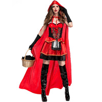 Takerlama 2017 Sexy Adult Little Red Riding Hood Costume for Women Fancy Adult Halloween Cosplay Plus Size XL Dress+Cloak+Gloves