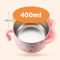 Dishes 6 pcs/set Children Cute Baby Feeding Bowl Water Injection Dish Insulation Bowl For Kids Bowl Anti Scald Stainless Steel