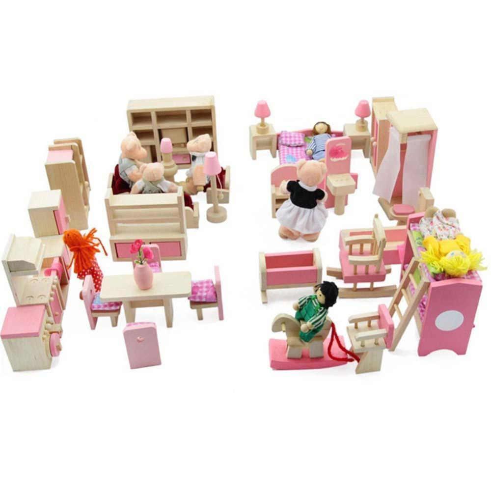 أثاث بيوت الدمى سرير مزدوج مع الوسائد والبطانية دمية خشبية الحمام دمى التظاهر محاكاة ألعاب بيوت الدمى الخشبية ذاتية الصنع