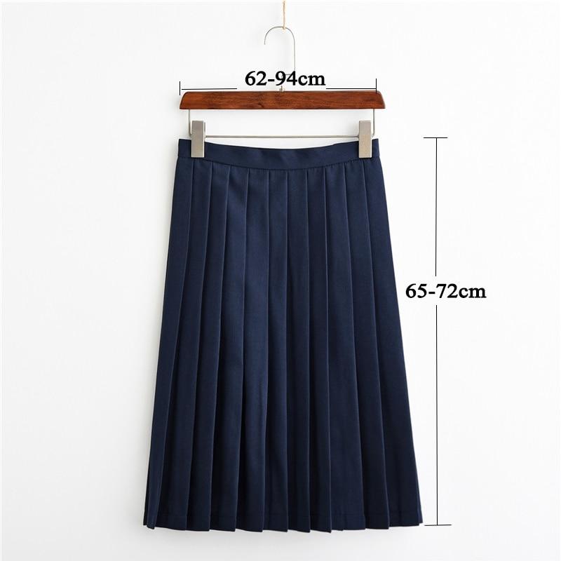 UPHYD New School Uniform Long Skirt Sailor Pleated Skirts Adjustable High Waist Female Middle Long Skirt 3XL