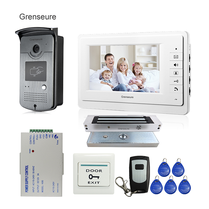 FREE SHIPPING Home Doorphone 7 Color Video Door Phone Intercom System 1 Monitor + 1 RFID Access Camera + 180kg EM Lock In Stock free shipping 10pcs ad9850brs in stock