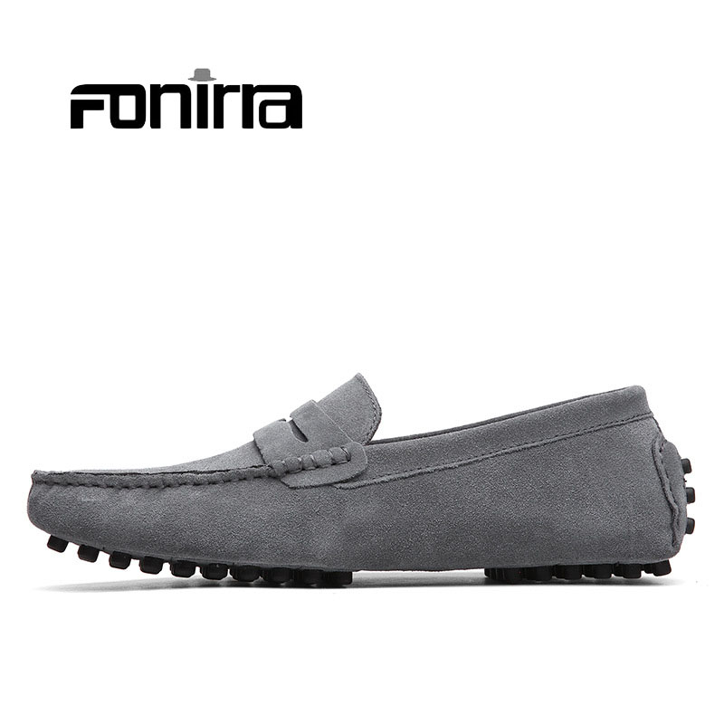 2017 Men Loafers Men Casual Shoes 10 Colors Men Flats Shoes Genuine Leather ShoesChaussure Homme Moccasin Slip On Flats 053 branded men s penny loafes casual men s full grain leather emboss crocodile boat shoes slip on breathable moccasin driving shoes