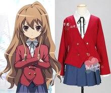 Tiger X Dragón Toradora Aisaka Taiga Cosplay Lolita Uniforme Escolar tops + skrit + camisa + corbata