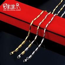 Торговля BEIER дешевые мужские ювелирные изделия из нержавеющей стали семена для мужчин и женщин унисекс крутая цепь сталь/золото ожерелье BN1024