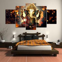 Wall Abstract Pop Canvas Painting 5 Pieces Ganesh Elephant Trunk God Modular Picture Frame Animal Poster HD Prints Decor Room(China)