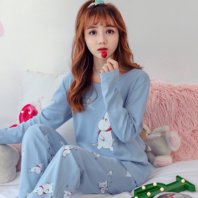Fashion New Women Autumn   Pajamas     Set   Women Long Sleeve Cute Sleepwear suit Cotton Pijamas Nightgown Thin Casual Homewear