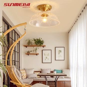 الشمال الفاخرة LED أضواء السقف بهو غرفة نوم مع زجاج قاتم Plafon Led خمر مصباح السقف تركيبات الإضاءة الحديثة