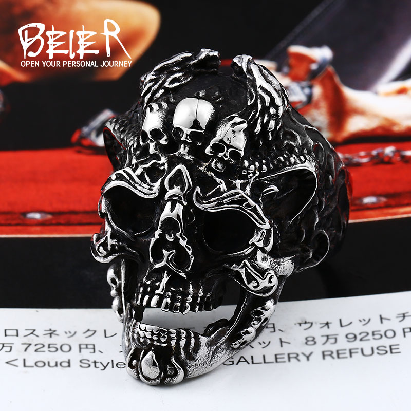 BEIER punk cool three skull fashion Big ring Stainless Titanium Steel Punk fashion for men jewelry Halloween party BR8-526 punk style hollow out stainless steel crucifix ring for men