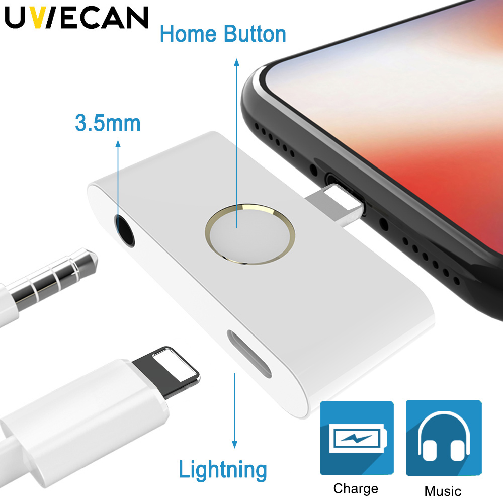 5 Pcs New Arrival Home Button Audio Headphone jack Charge Adapter for iPhone X XR XS Converter Support Listen Music and Charging
