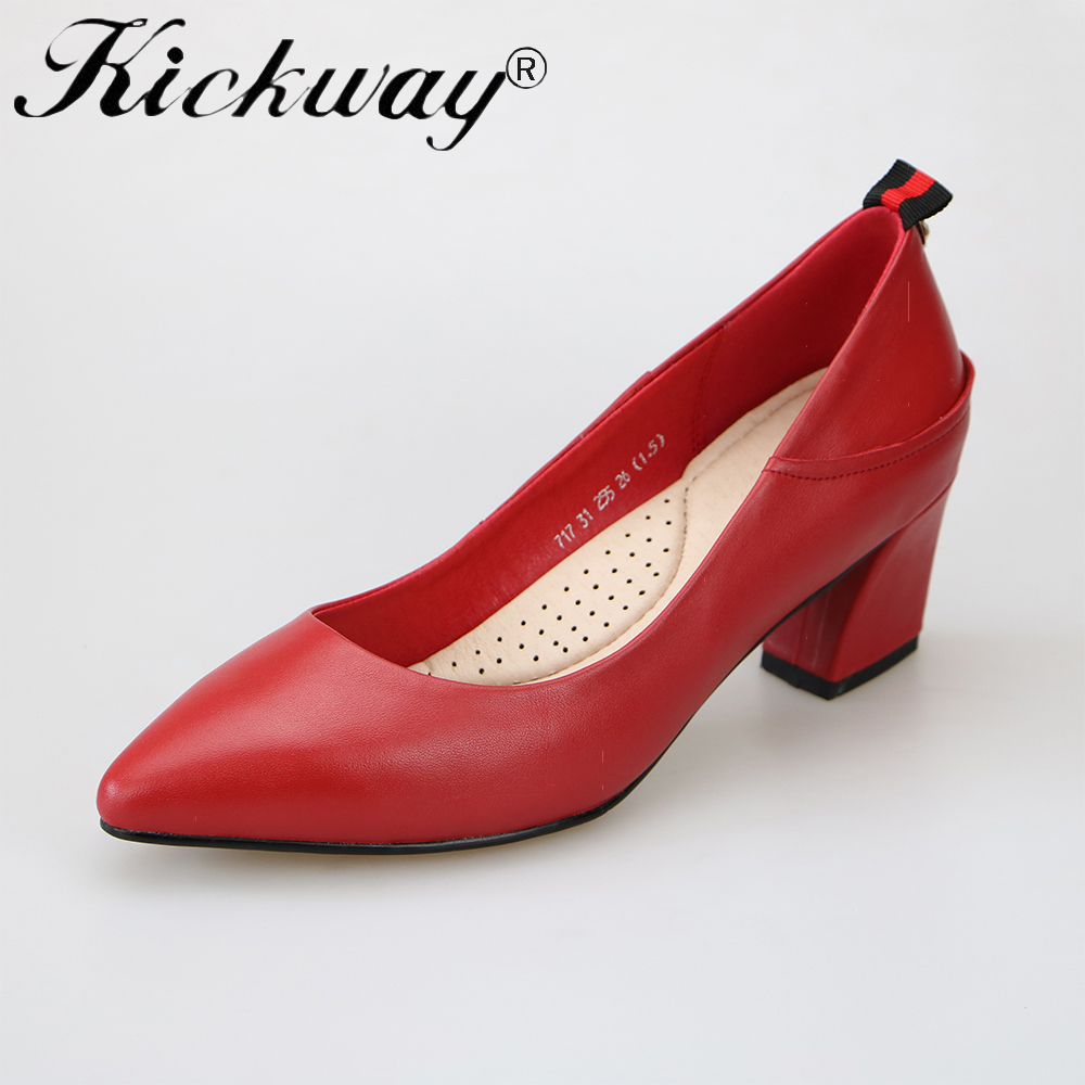 Kickway Plus size 34-42 new fashion genuine leather women pumps med heels summer solid wedding shoes sexy female shoes comfort aiyuqi 2018 spring new women s genuine leather shoes waterproof platform sexy plus size 41 42 43 fashion heel shoes female