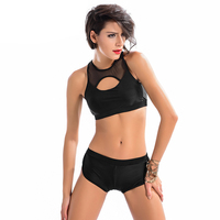 Women Black Swimwear Two Piece Sport Bra Shorts Girls Swimming Suit High Elastic Fast Drying Breathable Bathing Suits 2018