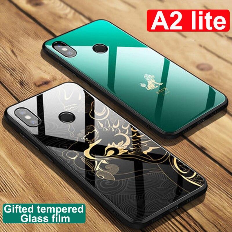 buy online 3da68 ae79e Original color Forbidden City Tempered Phone Glass Case For Xiaomi Mi A2  lite Case A2lite phone cases For Xiaomi MiA2 lite cover