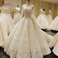 Fmogl Romantic Scoop Neck Appliques Lace A Line Wedding Dress 2019 Luxury Sequined Beaded Princess Bridal Gown Vestido de Noiva