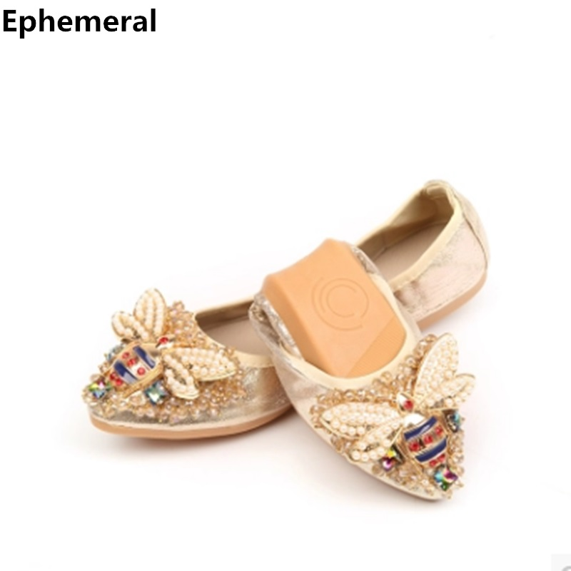 2018 ballet flats dancing shoes for women pointed toe slip-ons rhinestone bow ladies loafers breathable black gold plus size 43 new 2017 spring summer women shoes pointed toe high quality brand fashion womens flats ladies plus size 41 sweet flock t179
