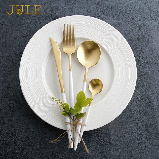 24 штук ccutipol Стиль золото набор столовых приборов Обеденный нож Вилки Наборы посуды 18/8 Нержавеющая сталь Ресторан Golden Столовая посуда набор