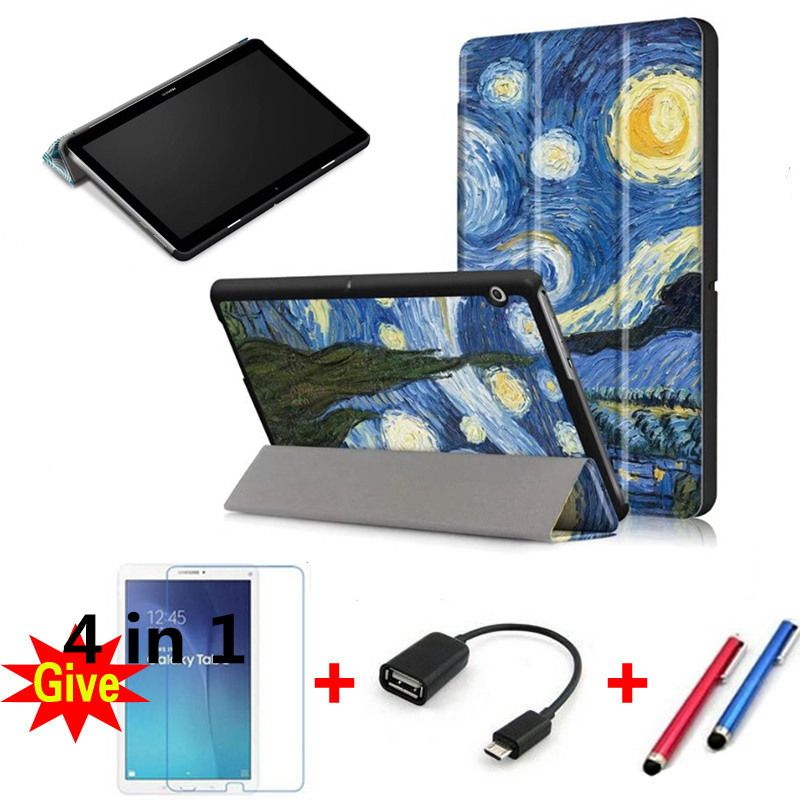 Cases for Huawei T3 10 9.6, Colored drawing Leather Cover Tablet MediaPad AGS-L09 AGS-L03 9.6 flip shell