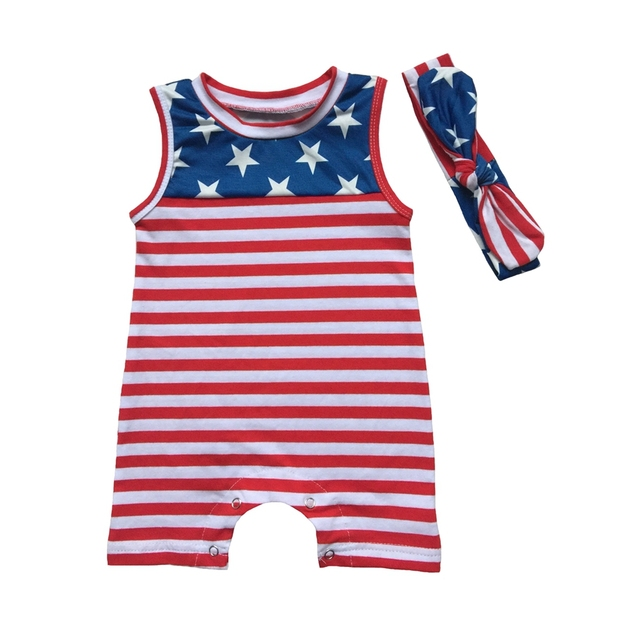 e931839fb903 Baby boys outfits american flag Patriotic girl gowns newborn infant 4th of july  boy rompers baby jumpersuits girls clothes