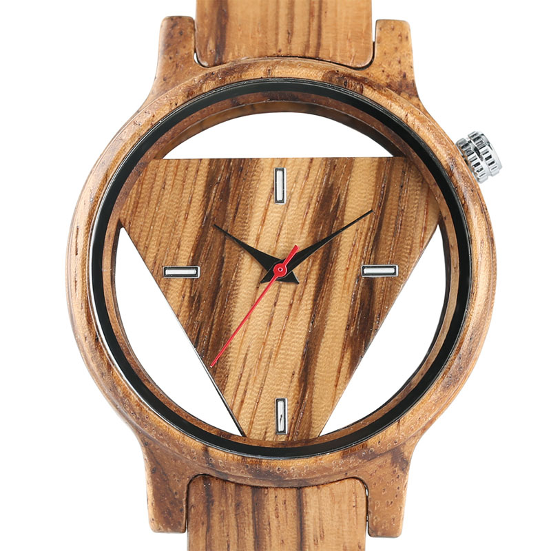 Fashion Men's Full Wood Bamboo Watch Hollow Triangle Dial Quartz Wristwatch Male Push Button Bangle Sports Clock Analog Gift wireless service call bell system popular in restaurant ce passed 433 92mhz full equipment watch pager 1 watch 7 call button