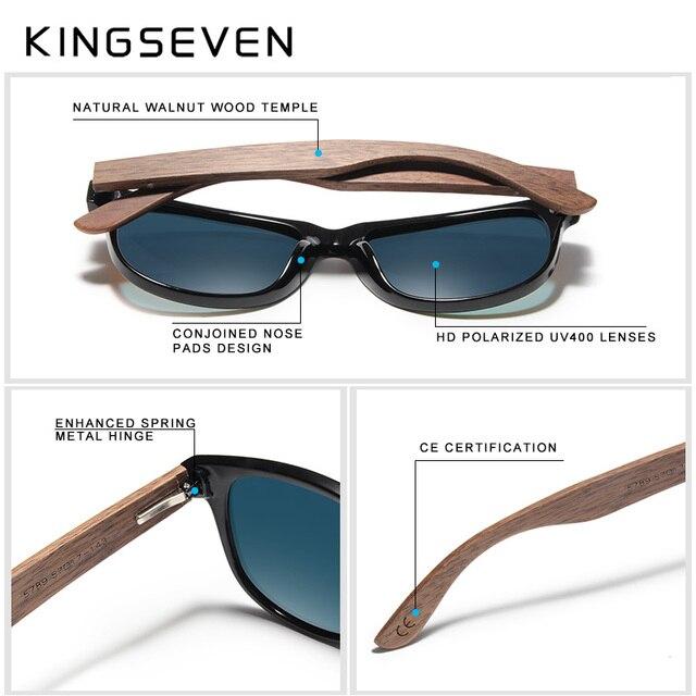 KINGSEVEN 2019 Black Walnut Sunglasses Wood Polarized Sunglasses Men UV Protection Eyewear With Wood Box Oculos de sol Men's Glasses