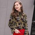 The 2017 women's fashion a new spring coat collar sleeve leisure all-match printed chiffon shirt 58036