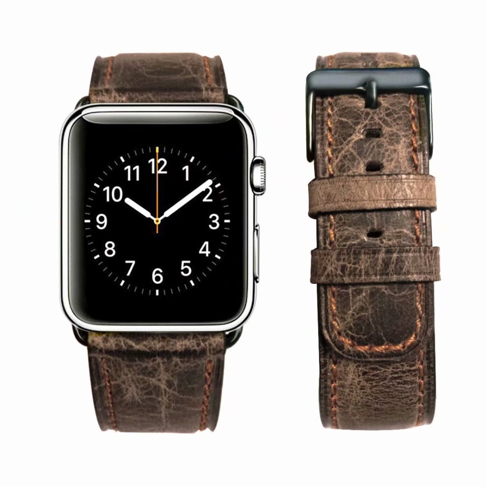 купить Retro Crack Genuine Leather Band For Apple Watch Series 4 3 2 1 Wrist Strap Buckle for iwatch 44mm 42mm 40mm 38mm watch men по цене 824.61 рублей